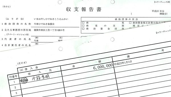 平成23年分の政治資金収支報告書