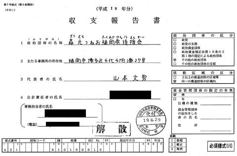 森元つねお福岡県後援会 収支報告書