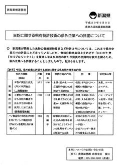 米粉に関する県有特許技術の県外企業への許諾について