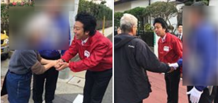 井上氏の選挙運動に参加した高島市長