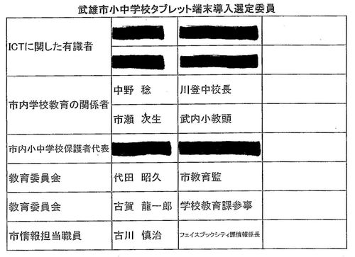 武雄市小中学校タブレット端末導入選定委員