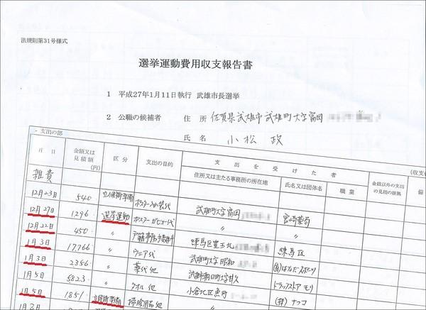 小松陣営の選挙運動費用収支報告書